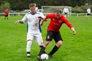 Actions from Old Post Office FC Reds v Clifton Rangers Athletic, at West Vale. Pictured is Darrell Camp and Tom Hill