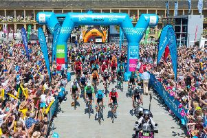 Tour de Yorkshire in the Piece hall. Picture: Bruce Fitzgerald.