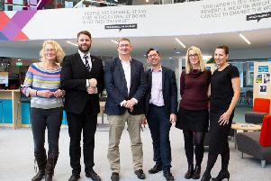 Calderdale Colleges Mental Health First Aiders and Principal in the Learning Resource Centre (from left to right): Fiona Hinchliffe, Paul Christian Waterworth, Principal John Rees, Jonathan Hambling, Jennifer Burke and Deborah Vickers. Picture: Bruce Fitzgerald.