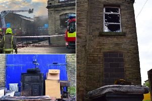 Damage caused to the building after a fire in Clare Road, Halifax