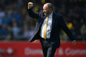 TORQUAY, ENGLAND - APRIL 22:  Gary Johnson, Manager of Torquay United acknowledges the fans prior to the Vanarama National League South match between Torquay United and Hungerford Town at Plainmoor on April 22, 2019 in Torquay, England. (Photo by Dan Mullan/Getty Images)