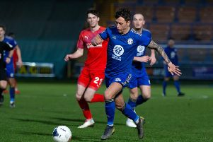 Actions from FC Halifax Town v Chesterfield, at The Shay, Halifax. Pictured is Danny Williams