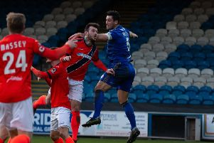 Actions from FC Halifax Town v Maidenhead, at The Shay. Pictured is Matty Brown
