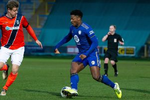 Actions from FC Halifax Town v Maidenhead, at The Shay. Pictured is Devante Rodney
