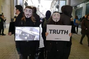 A previous protest by the group in West Yorkshire