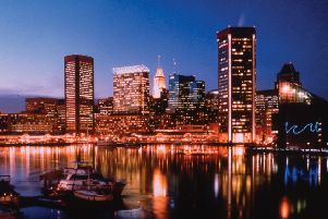 View of the Baltimore skyline in Maryland, USA.