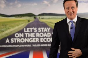Then prime minister David Cameron launched the Conservatives' first poster of the 2015 election campaign in Halifax.