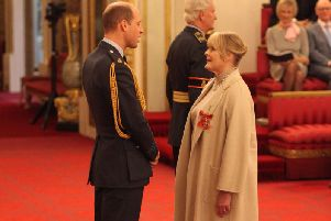 Sarah Lancashire from Twickenham is made an OBE (Officer of the Order of the British Empire) by the Duke of Cambridge at Buckingham Palace. pa