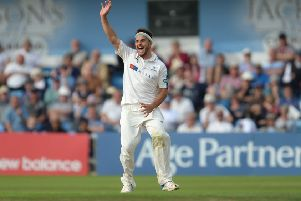 Yorkshire's Jack Brooks successfully appeals taking a wicket against Surrey at Headingley earlier this year. Picture: Anna Gowthorpe/PA.