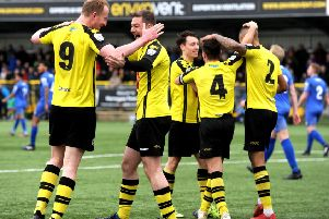Mark Beck, left is congratulated by Ben Parker after scoring Harrogate Town's second goal in their 2-0 home win over Gainsborough Trinity (Picture: Steve Riding).