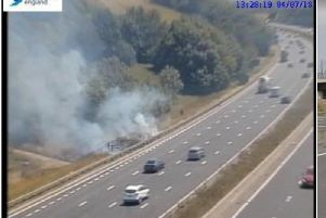The fire on the M1 southbound. Photo: Highways England