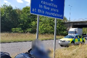 Trike crashes into road sign warning drivers of high casualty rate on M62