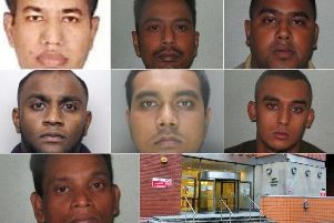 The eight men sentenced a Leeds Crown Court