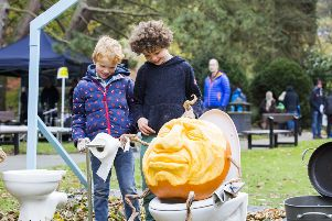 The Great Pumpkin Festival, Hebden Bridge. Rowan Gardner, six, left, and Torsten Stephenson, seven.