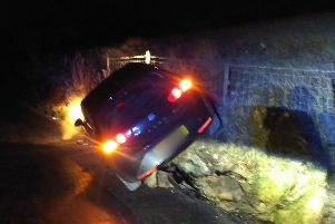 The car crashed into a wall after trying to evade traffic officers in Calderdale. Picture: @WYP_TrafficDave