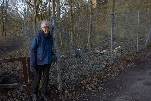 Peter Davies at the site of fly tipping at the side of Thornhills Beck Lane, Brighouse.