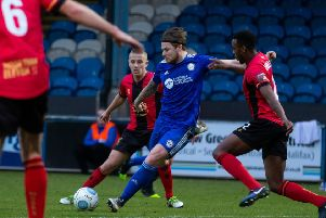 Jordan Preston for FC Halifax Town v Solihull, FA Trophy at the Shay