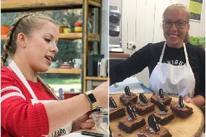 Hannah in the Bake Off tent (picture by Mark Bourdillon) and at RachAls Kitchen