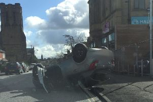 The crash in Quens Road, Halifax (Picture WYP)