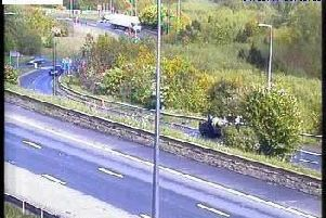 An overturned car on the M62 has closed the entry slip road at junction 25.
