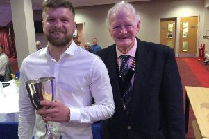 Halifax AFL player of the year Corey Henderson with league president Michael Sheppard
