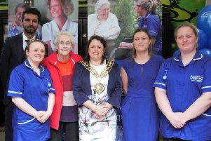 Caring team: Caremark Calderdale invited the Mayor of Calderdale, Cllr Dot Foster, to the grand opening.