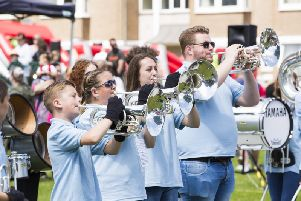 Queensbury Scout Band at the 2017 Elland Carnival