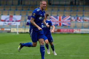 Actions from FC Halifax Town v Dag and Red. Nathan Clarke