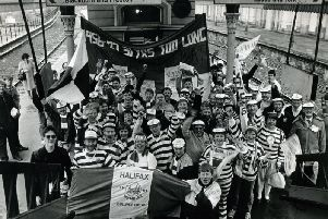 Halifax fans set off from Halifax railway station to go to Wembley in 1987 for the Challenge Cup final