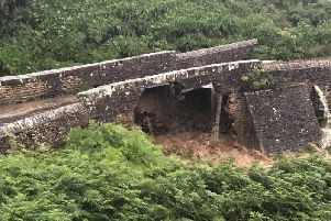 The Grinton Moor Bridge was damaged by flash flooding yesterday evening. Photo provided by Swaledale Mountain Rescue team