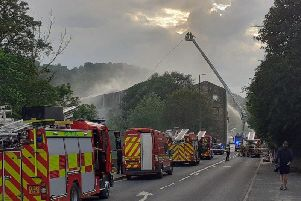 A large mill fire in Burnley Road, Mytholmroyd. Photo by West Yorkshire Fire & Rescue Service.