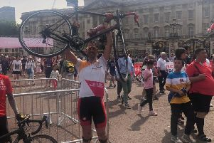 Neil McHaffie, 41, completed the 100-mile cycle challenge in memory of his cousin from Halifax