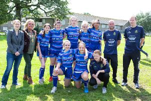 Deputy mayor Angie Gallagher and MP Holly Lynch, with the girls under 14 rugby team, at the official opening of the renovated rugby pitch, at Illingworth Sports Club, Halifax