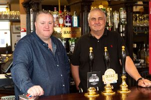 Landlord Michael Duke and Creative Music promoter Gary Ellis, at the Barge and Barrell pub - which is hosting a Northowram music festival, at the pub in Elland
