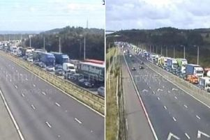 Queues on the M62 (Pictures Highways England)