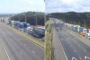 Queues on the M52 (Picture Highways England)