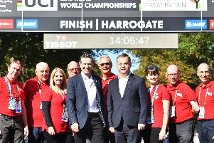 Sports Minister Nigel Adams and Yorkshire2019 CEO Andy Hindley with volunteers in Harrogate at the UCI Road World Championships. Picture: Simon Wilkinson/SWpix.com