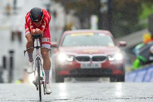 Mikke; Bjerg battled through difficult conditions to win Tuesday's men's under-23 time trial. Picture by Bruce Rollinson.