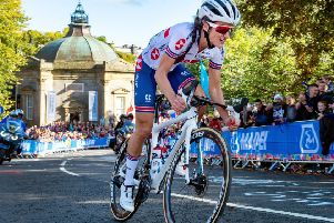 Lizzie Deignan climbs up Cornwall Road from the Pump Room.' '(Picture: Bruce Rollinson)
