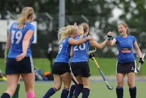 The Harrogate players celebrate after Jaclyn Smith (20) broke the deadlock in their clash with Kendal. Picture: Gerard Binks