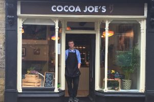 Joe Andrew is pictured outside Cocoa Joe's in Pateley Bridge.