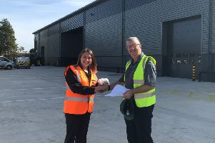Jenna Strover, head of commercial delivery at Potter Space, with Andy Foster of Primary Diets, the piglet and game bird feed specialist, which has completed its expansion into a new 27,500 square foot purpose-built warehouse on the Potter Space Business Park.