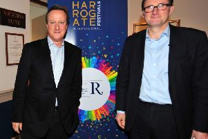 Ex-Prime Minister David Cameron and the BBC's James Landale in the Crown Hotel inn Harrogate at the Raworths Harrogate Literature Festival. (Picture Gerard Binks)