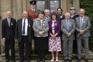 Front Row: Andrew Hitchen BEM, Brian Keen BEM, Jean Butterfield BEM, Valerie Hepworth BEM, Raye Wilkinson MBE, Bernard Coyne BEM. Second row: Cadet Sergeant Major Dylan Keane ACF, Chairman of North Yorkshire County Council, Councillor Jim Clarke, The Lord-Lieutenant for North Yorkshire Mrs Johanna Ropner, Acting Leading Cadet Ellie Travill, SCC.