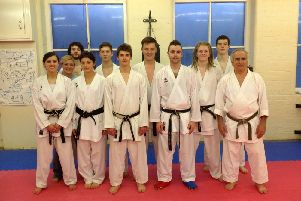 Harrogate Shotokan and Boston Spa Karate Club members Melissa, Ashley, Joe Hart, Emelye, Jordan, James, Callum, Craig, Tom, Joe Finaly and World Coach Antonio Seba 8th Dan
