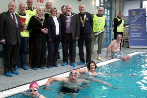 The Mayor and Mayoress of Knaresborough Coun John Batt Mrs Sue Batt,the Mayor and Consort of Boroughbridge Coun Elizabeth Vose and Mr David Vose together with Rotary Club President John Tapscott start the Swimarathon at Knaresborough Swimming Pool. (S)