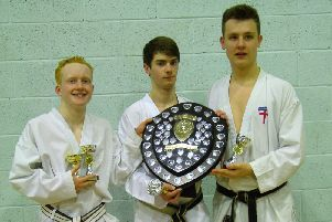 Harrogate Shotokan Karate Club's winning b team Joe Bulmer, James Brown and Callam Payne. (s)