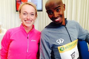 Ripon Runners member Tori Green alongside Mo Farah