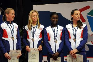Naana Adusei, third from right, with her Great British teammates