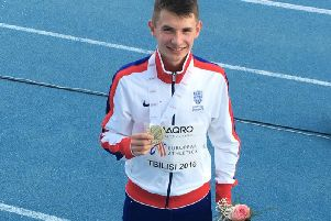 George Mills with his 800m gold medal in Georgia